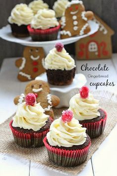 Chocolate Gingerbread Cupcakes with White Chocolate Buttercream from @LifeMadeSweeter @BobsRedMill gluten free