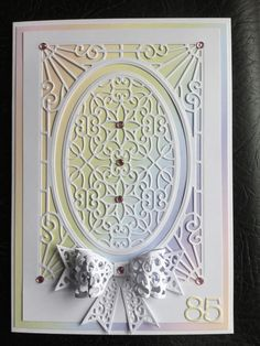 Made using Sue Wilson Die Cathedral background and Filigree 3D Bow,Kanban…