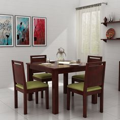 Buy Orson 4 Seater Dining Set (Mahogany Finish) Online in India - Wooden Street Wooden Dining Table Set, 4 Seater Dining Table, Dining Table Design, Modern Dining Table, Dinning Table, Dining Area, Dining Chairs, Small Dining Sets, Flat Interior
