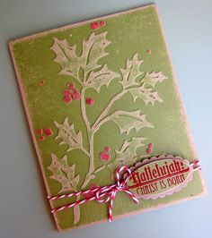 Distressed Holly Card...with candy cane string...Pinkcloud Scrappers.