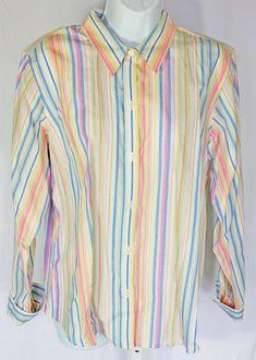 824e3ded190 Crazy Horse Liz Claiborne Shirt Blouse Pastel Pink Striped Plus Size 14  Cotton  CrazyHorse