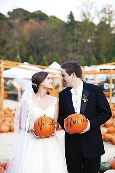 Pumpkin Patch Portraits. Adorable for a fall wedding.