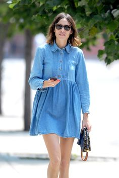 Mallzee recommends how to look chic and stylish in double denim, and tells how you can win a Arcadia voucher by embracing this current on trend look. Alexa Chung Style, Smock Dress, Buy Dress, Denim Fashion, Girl Fashion, Street Fashion, Mode Jeans, Vogue, Double Denim