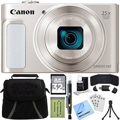 Canon PowerShot SX620 HS 202MP Digital Camera Silver w 32GB Accessory Bundle includes Camera 32GB SDHC Memory Card Bag Mini Tripod Screen Protectors Cleaning Kit Beach Camera Cloth and More ** Visit the image link more details. This is Amazon affiliate link.