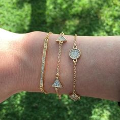⭐️(2pc) Statement Bracelet Set AVAILABLE SOON ❗️COMMENT BELOW TO BE NOTIFIED WHEN THIS DESIGN IS AVAILABLE PURCHASE. // This adorably simple circle and triangle bracelet trend is a staple for every arm candy fashionista. Hypoallergenic, lead and nickel free. Ocean Jewelers  Jewelry