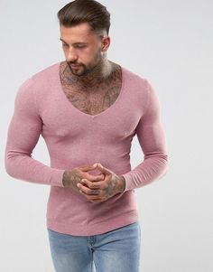 Get this Asos's knit pullover now! Click for more details. Worldwide shipping. ASOS Extreme V Neck Jumper in Muscle Fit - Pink: Muscle fit jumper by ASOS, Lightweight knit, Extreme V-neck, Slim-cut sleeves, Ribbed trims, Tight fit to the body, Skinny fit � cut closely to the body, Machine wash, 100% Cotton, Our model wears a size Medium and is 192cm/6'3.5 tall. ASOS menswear shuts down the new season with the latest trends and the coolest products, designed in London and sold across the…