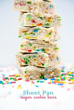 These sheet pan sugar cookie bars are soft and chewy and the best kind of dessert to feed a crowd. Sprinkles are optional but make things more fun! We are want to say thanks if you like to share this post to another people via your. Sugar Cookie Bars, Soft Sugar Cookies, Cookie Recipes, Dessert Recipes, Pan Cookies, Kinds Of Desserts, Homemade Cookies, Brownie Bar, Dessert Bars