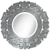 """Venetian Tulip 30"""" Round Etched Wall Mirror"""