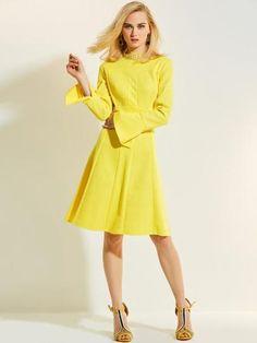 be742f0ce0 Long Sleeve Yellow Patchwork Women s Day Dress Yellow Midi Dress