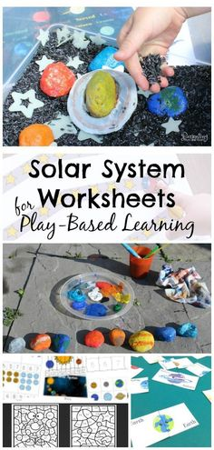 10 + solar system worksheets to promote play-based learning! These printables are free, fun and focus on numeracy, literacy, STEM, and sensory learning. Great for astronomy teaching units for preschoolers, kindergarteners, and older kids too!