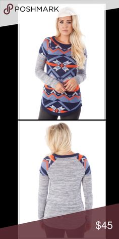 Navy tribal sweater Navy tribal sweater. Made with 100% Acrylic Derek Heart Tops