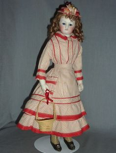 """15"""" Jeune Fille, Barrois French Fashion with Bisque Arms from fireweedgallery on Ruby Lane"""