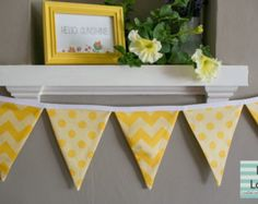 Hello Sunshine Fabric Party Bunting Banner in Yellow Chevron and Polka Dots