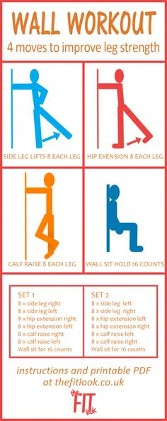 Working out at home doesn't have to mean that you have to buy expensive equipment. Everyone's home has walls and they can be used in workouts, both for support and resistance. This workout routine uses 4 wall exercises, which will tone all of your leg muscles. All you need in order to do the workout is a bit of wall space and some comfortable clothes.