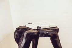 black wooden stool