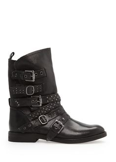 Punk style leather ankle boots by MANGO