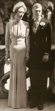 Wallis Simpson and Edward, Duke of Windsor were married on 3 June at the Château de Candé, in France. Wallis Simpson, Edward Viii, Royal Dresses, Savile Row, British Monarchy, Royal Weddings, Duke And Duchess, Royalty, David
