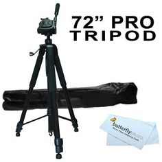 "72"" Super Strong Tripod With Deluxe Soft Carrying Case For Nikon COOLPIX P900, P610, P600, P530, P520, P510, P100, P500, L120, L610, L810, L820, P7000, P7700 P7800 L330 L340, L830, L840 Digital Camera"