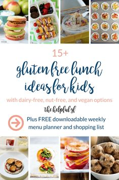 This is a roundup of 15 fun and easy gluten-free school lunch ideas for kids to pack for school. The list includes many dairy-free, nut free, and vegan options as well. These ideas are simple, quick, and healthy ideas to make ahead for easy packing! Gluten Free Diet, Dairy Free, Nut Free, Gluten Free Lunches, Gluten Free Lunch Ideas, Gluten Free Recipes For Kids, Clean Eating Snacks, Healthy Snacks, Healthy Kids
