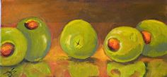 contemporary still life paintings | Green Olives, modern still life, painting by Delilah Smith
