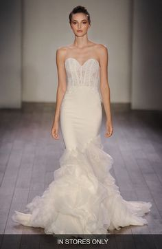Lazaro Strapless Lace, Crepe & Organza Trumpet Gown (In Stores Only) available at #Nordstrom