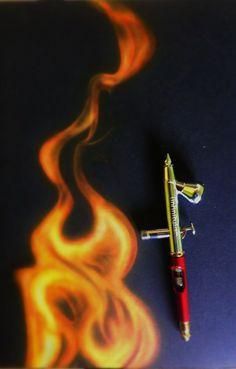 Dibujo de fuego con aerografo. Airte