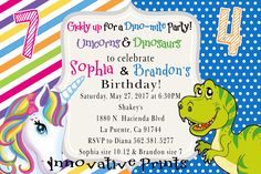 Unicorn & Dinosaurs Sibling Birthday Invitation, Click on the image twice to place orders or follow me on facebook. or email me at the address in BIO.