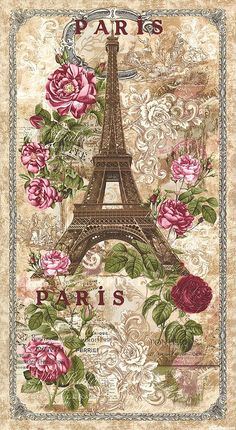Paris Rendezvous - Eiffel Tower Rose - Quilt Fabrics from www.eQuilter.com