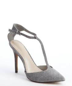 CHARLES BY CHARLES DAVID Grey And Black Stingray Embossed Suede T-Strap 'Panache' Pumps $49.70