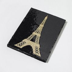Glam up your #backtoschool supplies with a glitter & sequin Eiffel Tower Sketchbook