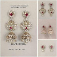 These Detachable Diamond Jewellery Designs Will Blow Your Mind! • South India Jewels Indian Jewellery Design, South Indian Jewellery, Ethnic Jewelry, Indian Jewelry, Jewelry Design, Diamond Jewelry, Diamond Earrings, Gold Jewelry, Drop Earrings