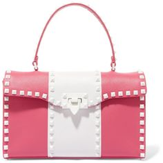 Valentino The Rockstud leather tote ($2,105) ❤ liked on Polyvore featuring bags, handbags, tote bags, pink, pink tote, zippered tote bag, leather zip tote, leather tote handbags and leather tote bags