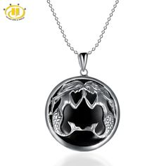 Hutang Pisces Zodiac Pendant Natural Black Jade 23mm Solid 925 Sterling Silver Necklace Women's Men's Fine Jewelry #Affiliate