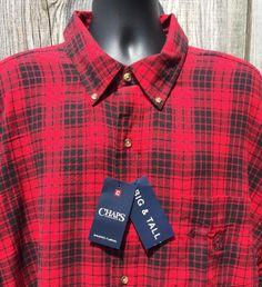 429580113c Mens 4XB 4XL Flannel Shirt Chaps Plaid Red Black Button Down New Tags #Chaps  #