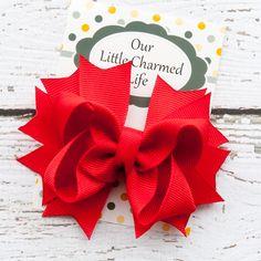 Pelo rojo arco pinza de pelo rojo rojo por OurLittleCharmedLife, $4,00