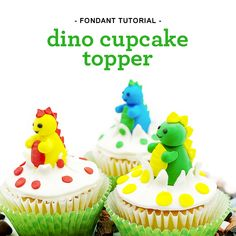 How to make Dino Cupcake Toppers using Satin Ice Fondant Cupcake Tutorial, Fondant Tutorial, Dinosaur Cupcake Toppers, Satin Ice Fondant, Fondant Decorations, Fondant Toppers, Dinosaur Birthday, Some Fun, Cake Decorating