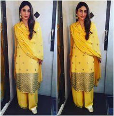 Kareena Kapoor Khan in a sunny yellow salwar by Anushka Khanna Kareena Kapoor Khan, Deepika Padukone, Indian Wedding Outfits, Indian Outfits, Karena Kapoor, Desi Clothes, Indian Clothes, Indian Designer Wear, Bollywood Fashion