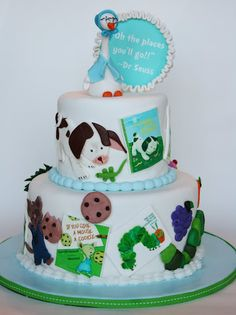 Poky Little Puppy, mother goose, great cake for a story book baby shower or library event. - I LOVE Pokey Little Puppy! Pretty Cakes, Cute Cakes, Storybook Baby Shower, Storybook Party, Book Cakes, Character Cakes, Cake Creations, Creative Cakes, Baby Shower Cakes