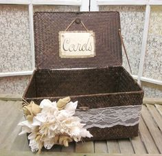 Lacey Rustic Wedding Card Holder. $65.00, via Etsy.
