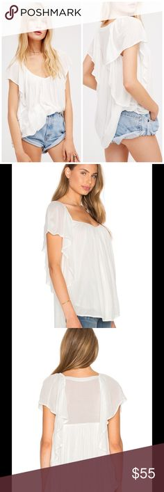 NWT Forever and Always flutter sleeve tunic top Delicate, flowy and light flutter sleeve tunic top from Free People. Longer length, and soft, white flowing knit makes this the perfect top for spring! Perfect paired with shorts or jeans, and just the right length for leggings. Perfect condition, NWT. Size Large. MORE PICS TO COME!! Free People Tops Tunics