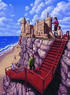 Imagine a Day by Sarah L. Thomson - Imagine a day when your swing swings you higher than the highest treetops. Imagine a day when you can ride your bike up a. Optical Illusion Paintings, Amazing Optical Illusions, 3d Street Art, Canadian Painters, Canadian Artists, Robert Gonsalves, Rene Magritte, Magic Realism, Realism Art