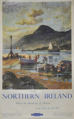 Jigsaw Puzzle Pieces) featuring Northern Ireland - Where the Mountains of Mourne sweep down to the Sea', British Railways Poster (London Midland Region). Artwork by David Cobb depicting bathers and boats on foreshore with mountains in background. Manx, Dark Mountains, Railway Posters, Posters Uk, Train Posters, British Travel, National Railway Museum, Tourism Poster, Ireland Travel