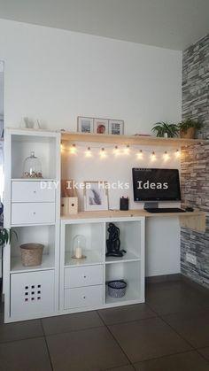 Ikea Kallax Hack Sideboard Woods DIY – interior design ideas - home diy ideas Etagere Kallax Ikea, Ikea Kallax Hack, Home Office Design, Home Office Decor, Diy Home Decor, Office Ideas, Ikea Office, Attic Office, Home Decor Ideas