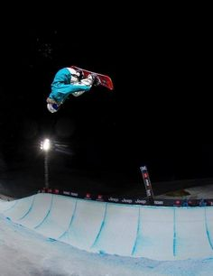 Bex Sinclair riding halfpipe at night during Euro X - You can see Bex is doing a flip trick, called a Crippler Winter Games, 22 Years Old, Winter Olympics, Olympians, Snowboarding, World Cup, Competition, December 2013, Vancouver