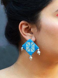 Diy Wedding Earrings, Diy Earrings, Earrings Handmade, Diy Fabric Jewellery, Tassel Jewelry, Bridal Jewelry, Antique Jewellery Designs, Handmade Jewelry Designs, Antique Jewelry