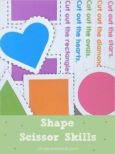 Shape Scissor Skills Early Learning Activities, Classroom Activities, Fine Motor Skills Development, Scissor Skills, Scissors, Diamond Cuts, Card Stock, Kindergarten, Preschool