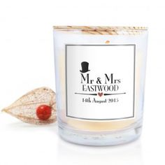 Personalised Decorative Wedding Scented Candle - Mr and Mrs