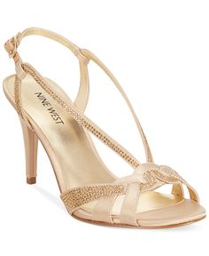 Nine West Illona Mid-Heel Evening Sandals - Evening & Bridal - Shoes - Macy's Pretty Shoes, Beautiful Shoes, Cute Shoes, Golden Sandals, Evening Sandals, Bridesmaid Shoes, Latest Shoe Trends, Girls Sandals, Bridal Shoes