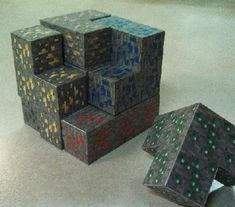 Papercraft Soma Cube Puzzle: Minecraft Edition (Ore Version)