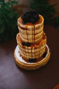 Naked Wedding Cake with Caramel and Black Berries - Elegant Winter Woodland Wedding - Calgary Bride